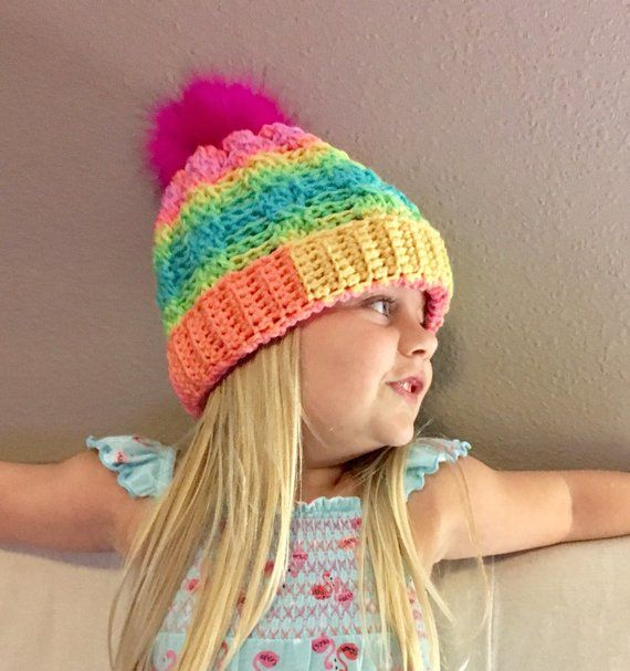 Fur Pom Pom Hat Kids 39a56a4b1