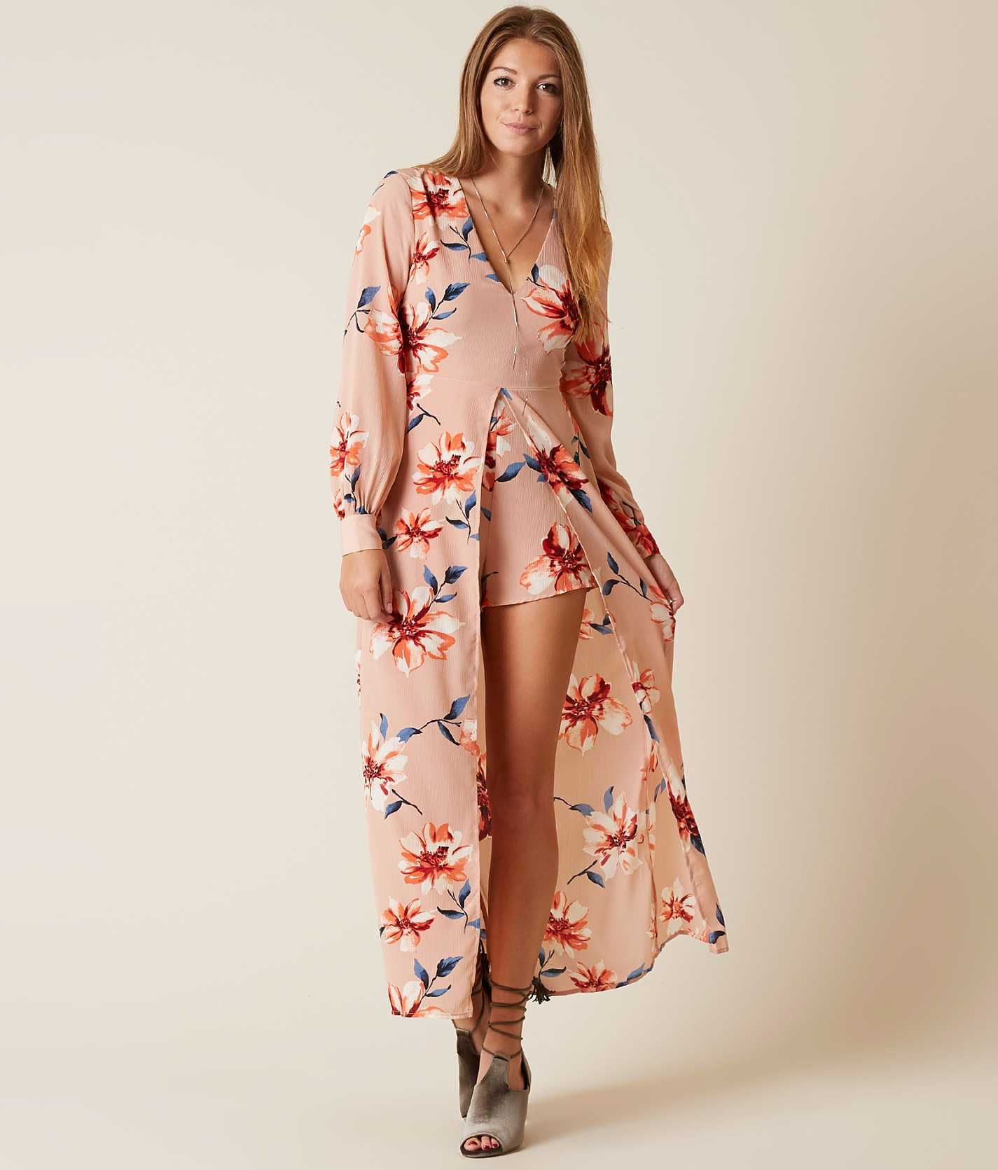 753658bbf96 Lush Floral Maxi Romper - Women s Rompers Jumpsuits in Blush Coral ...