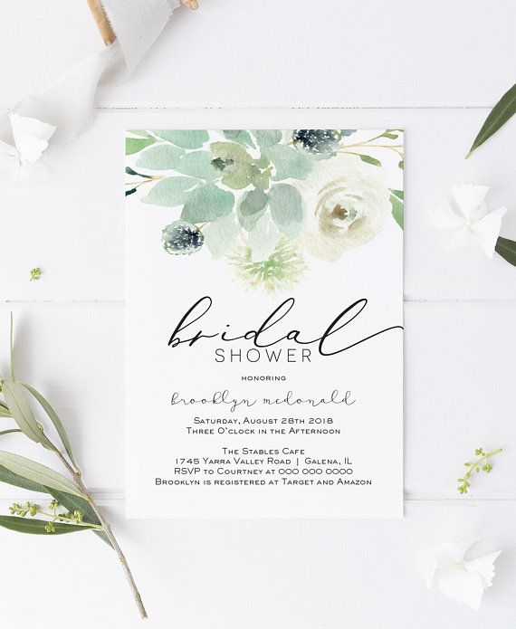 Succulent Bridal Shower Invitation Greenery Printable