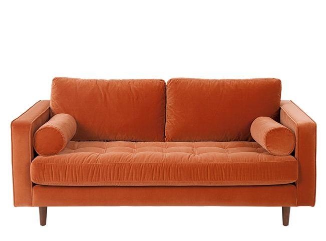 Scott Breites 2 Sitzer Sofa Samt In Rostorange Kissen Sofa Oranges Sofa Ledersofa