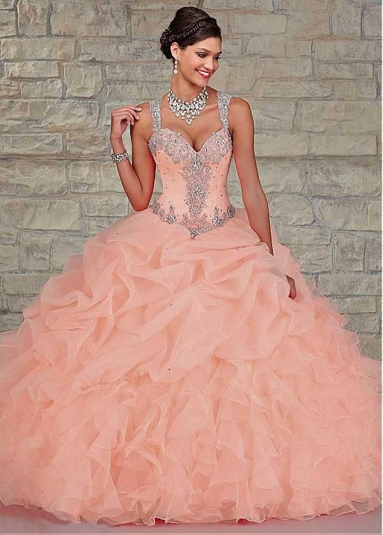 Chic Tulle & Organza Spaghetti Straps Neckline Floor-length Ball Gown Quinceanera Dress
