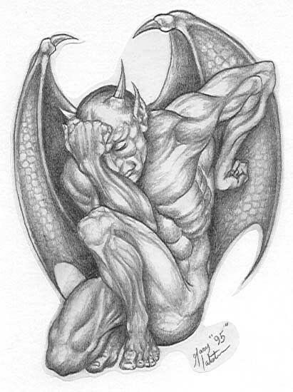 La Tristeza De Lucifer Bocetos Tatuajes Gargolas Dibujos