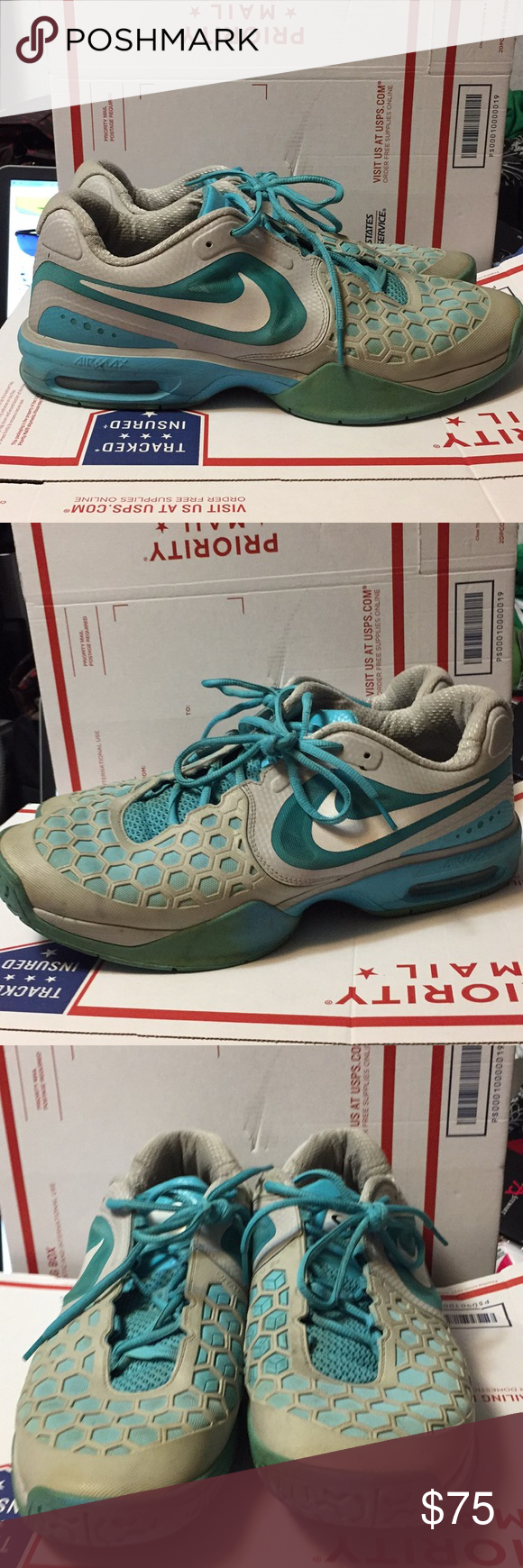 promo code ea893 fde16 Nike Air Max Courtballistec 4.3 SZ 12.5 SZ 12.5 only tears in one of the  shoelace hooks on the right sneaker. In overall great shape. Turquoise Blue  and ...