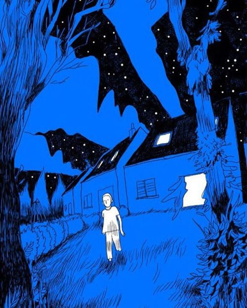 """thomashumeau: """" My parent's house in France. Night escape! #sleepwalking #illustration #dessin #graphicnovel #sketch """""""