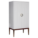 MILES WHN - WHITE LACQUER 2 DOOR ARMOIRE WITH HARDWOOD BASE & NICKEL HARDWARE