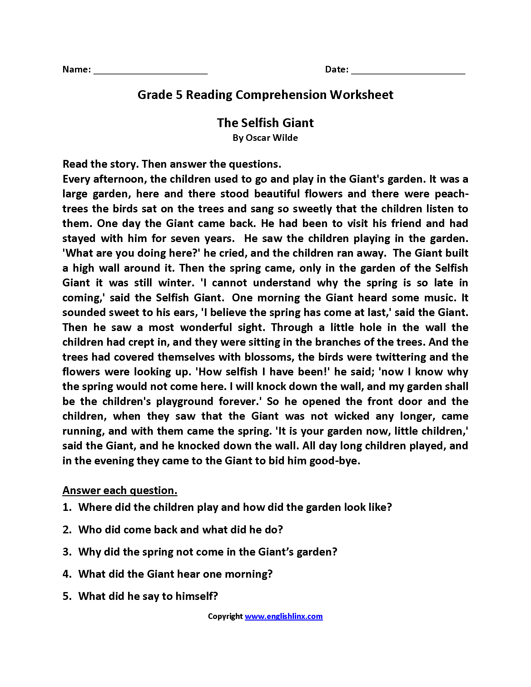 Selfish Giant Fifth Grade Reading Worksheets