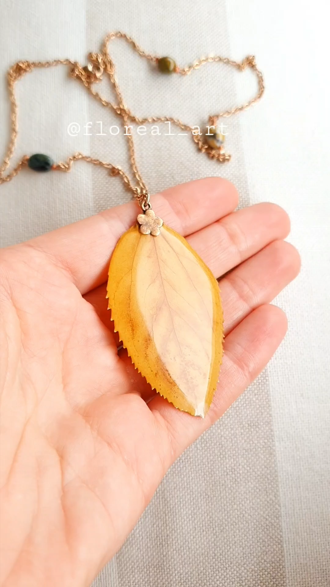 Photo of Pressed Leaf Necklace,Ocean Jasper Necklace,Resin Necklace,Handmade Necklace,Stainless Steel