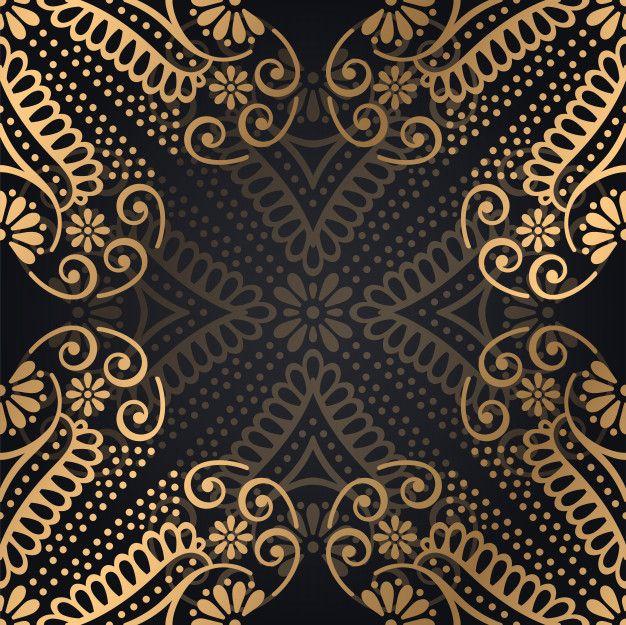 Роскошный декоративный фон дизайн мандалы в золотой ...