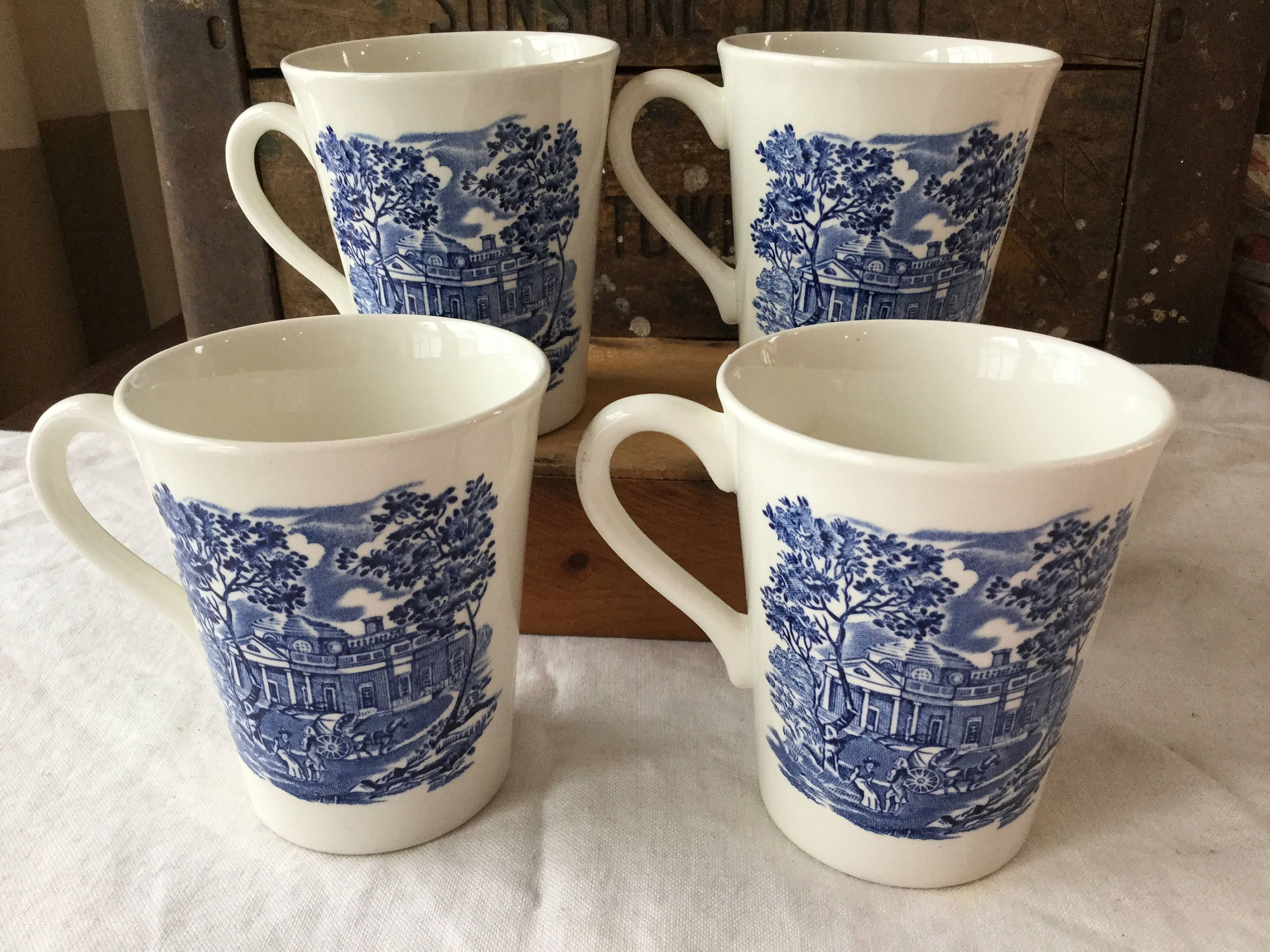 Cobalt Blue and White Ironstone Coffee Pot and 2 Matching Coffee Cups Floral Pattern