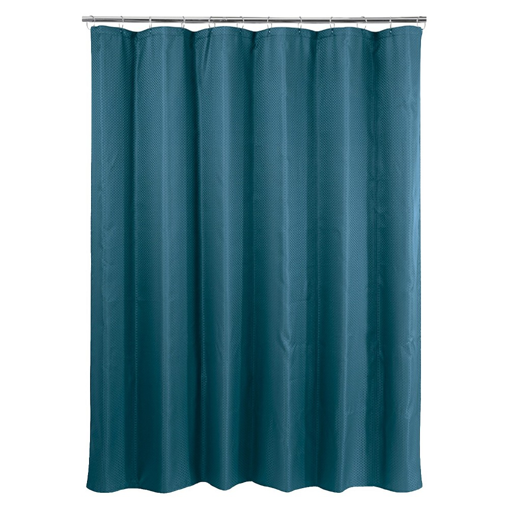 Basket Weave Shower Curtain Dark Teal Blue Teal Shower