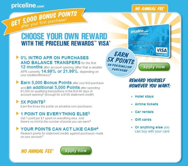 Perfect Credit Card for Priceline Power User: $100 and 5% back