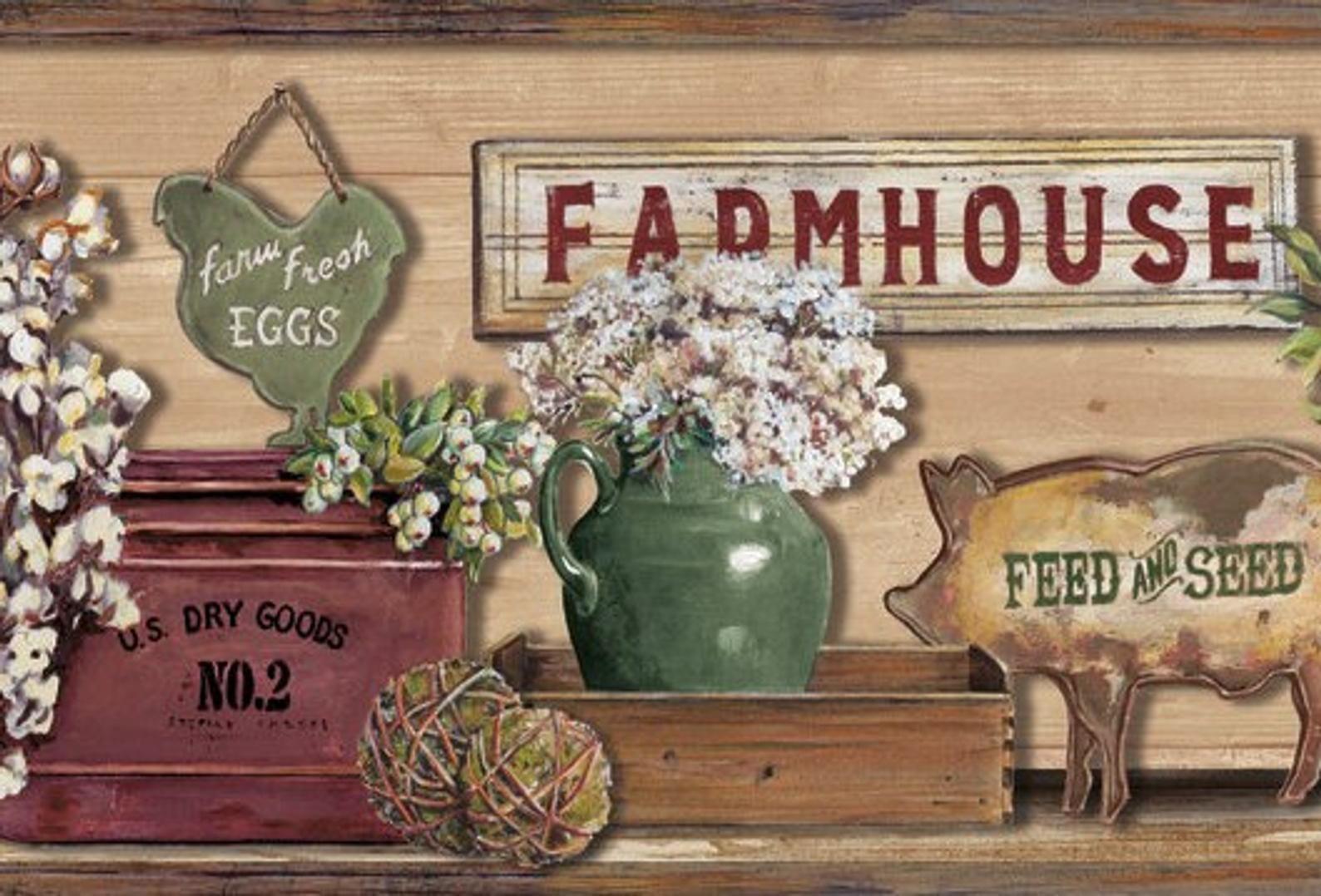 Farmhouse Shelf Brown Wallpaper Border Lg1301bd Etsy Rustic Wallpaper Wallpaper Border Farmhouse Shelves