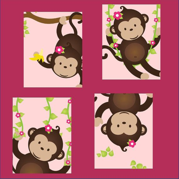 Monkey Nursery Art For Or Boy Set Of Four 5x7 Prints Great Toddler Room As A Gift Version On Etsy 40 00