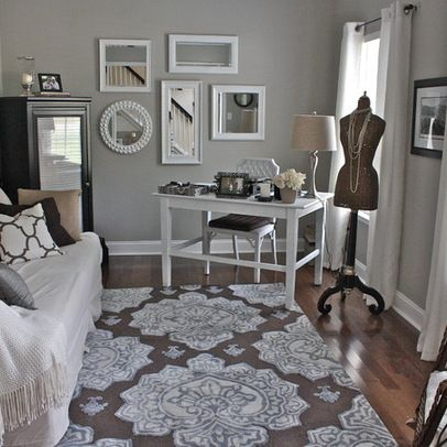 Sherwin Williams Mindful Gray Paint Our Master Bedroom Paint Color Love Rug And Color Sch Guest Bedroom Office Guest Room Office Combo Bedroom Office Combo