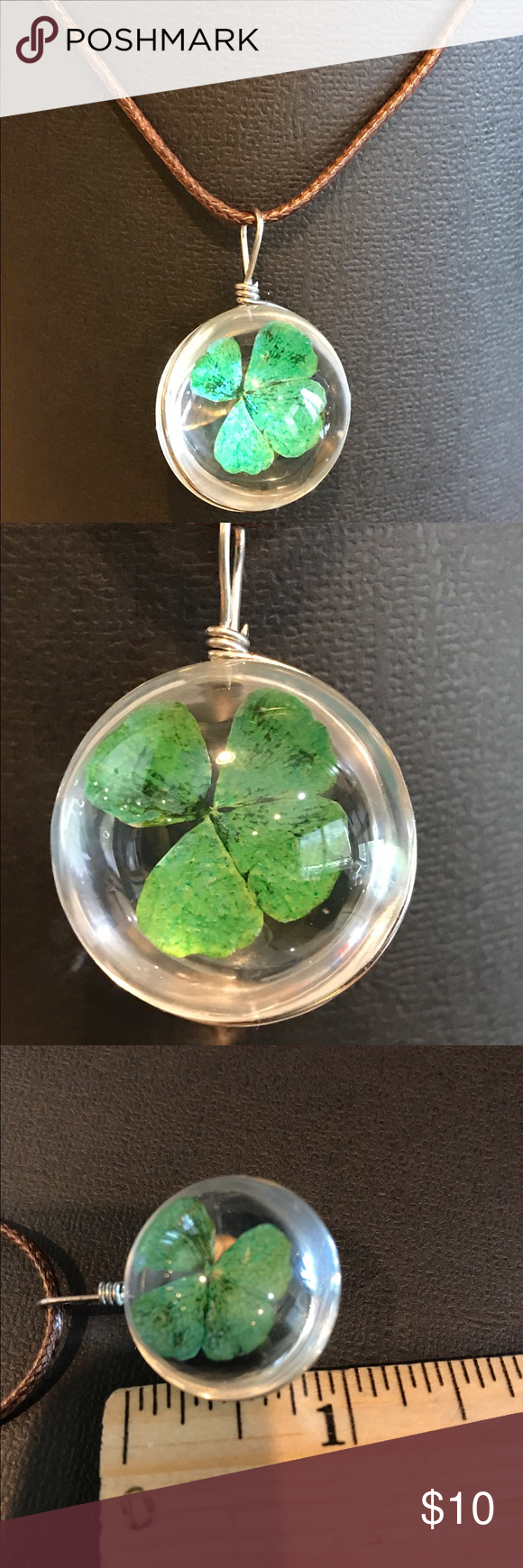 Green lucky shamrock necklace four leaf clover charm emerald green - Real Four Leaf Clover Necklace Pendant Nwt