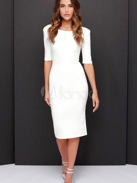 4ab7a906313 White Bodycon Dresses Half Sleeve V Back Women s Midi Pencil Dress ...