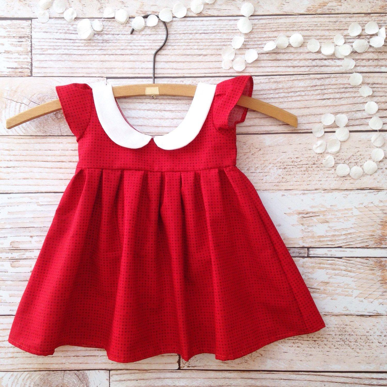Baby girl dress red little girl dress one year old birthday girl