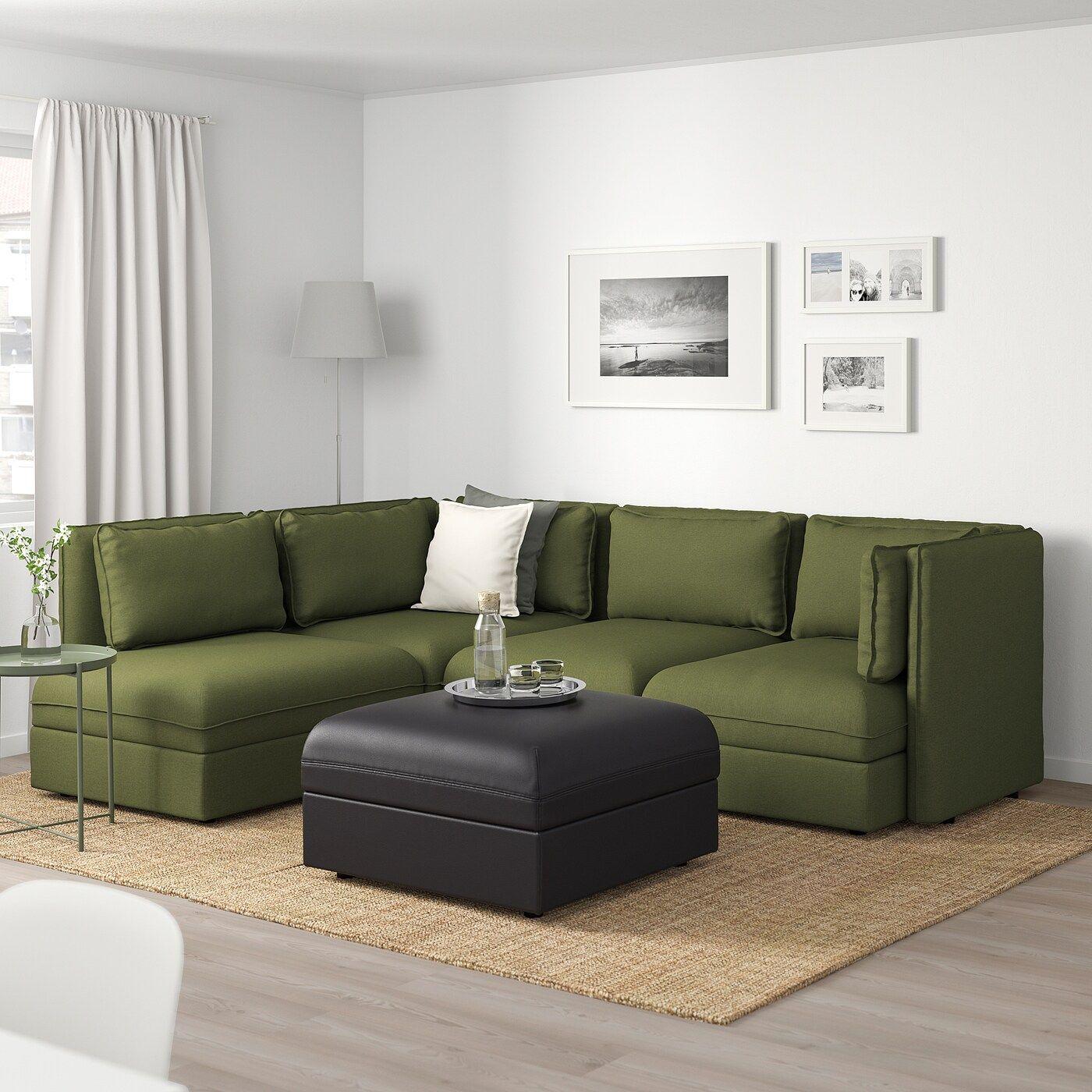 Vallentuna Modulecksofa 4 Sitzig Mit Stauraum Orrsta Murum Olivgrun Schwarz Ikea Osterreich Modular Corner Sofa Corner Sofa Green Sofa Living