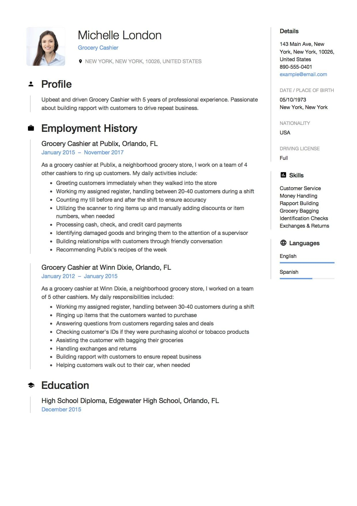 Grocery Cashier Resume Guide 12 Example Customer Service