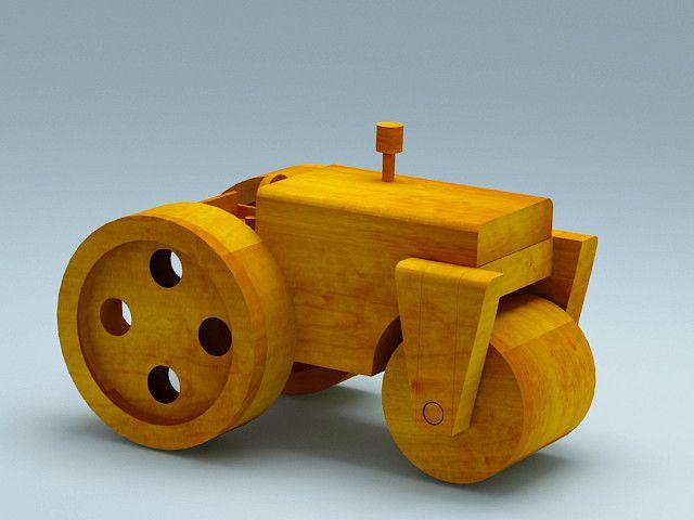 3ds max wooden toy steam roller