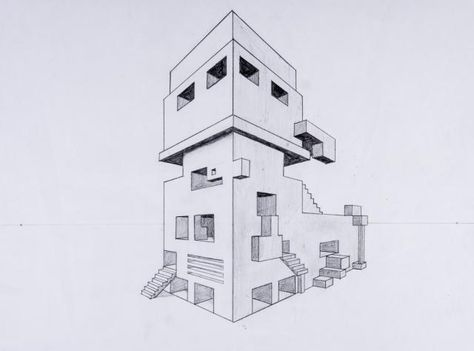 Perspektive mit 2 fluchtpunkten futuristisches geb ude kunst pinterest - Architektur zeichnen ...