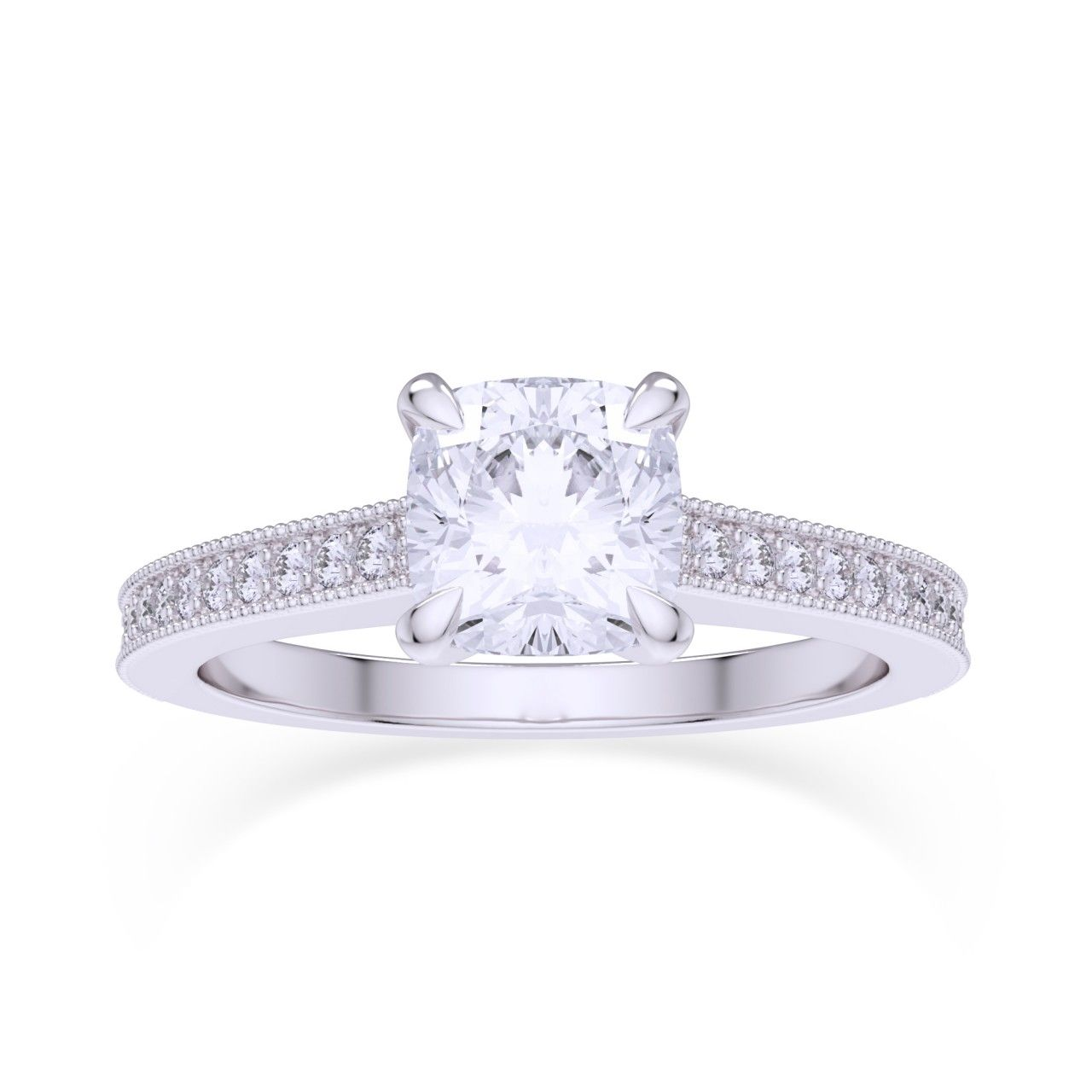 Cushion u pave diamond ring gia sku r ct tw customer