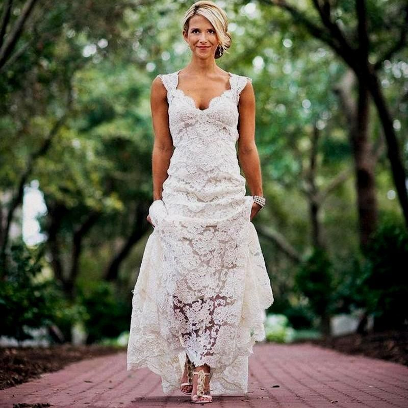 2188d7c528f4 Pretty Floral Lace Rustic Wedding Dresses V Neck Cap Sleeve Country Style Lace  Wedding Dress Backless