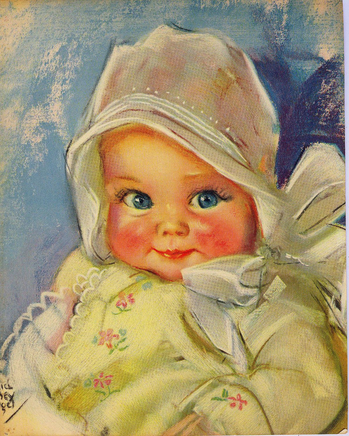Vintage Maud Tousey Fangel Baby Print Ilustrations