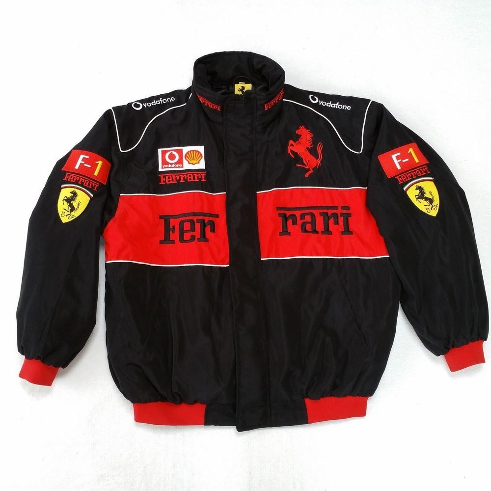 Vintage Ferrari F1 Formula 1 Racing Bomber Jacket Mens 2xl Black Vintage Racing Jacket Jackets Mens Jackets