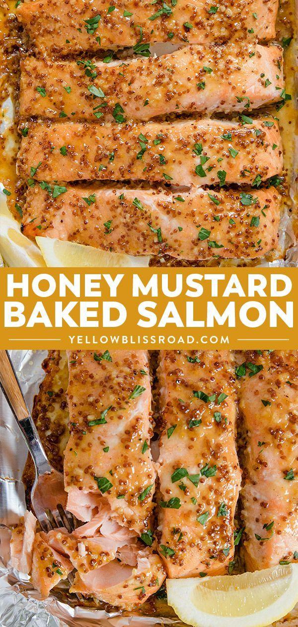 Baked Honey Mustard Salmon Recipe | 20 Minutes | YellowBlissRoad.com