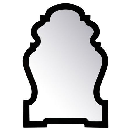 Black mirror for entry hall powder room.