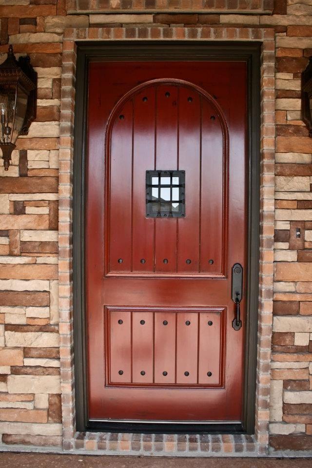 Distressed Red Front Door Http Www Facebook Com Jacobreinboldgeneralcontracting Brown Front Doors Front Door Entryway Front Door Colors