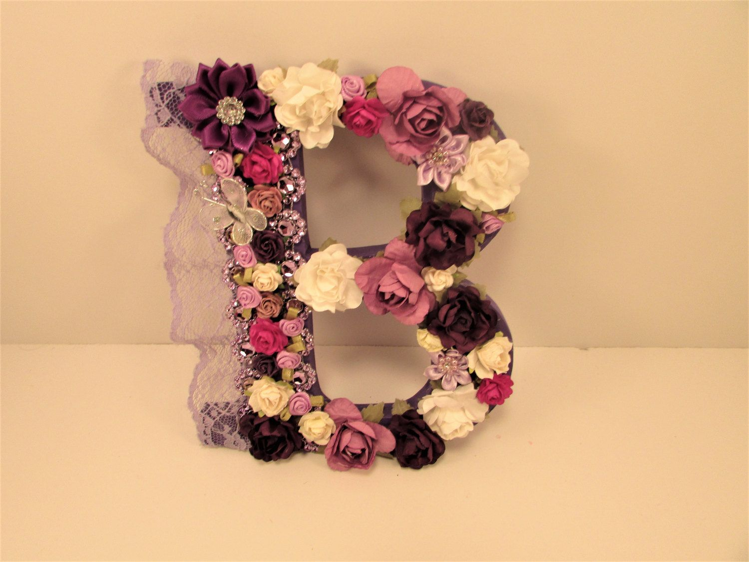 Purple name letter - Purple letter B - Custom name letter - Flower ...