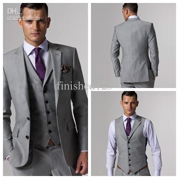 2014 High quality Light gray Groom Tuxedos Groomsmen Best Man Men ...