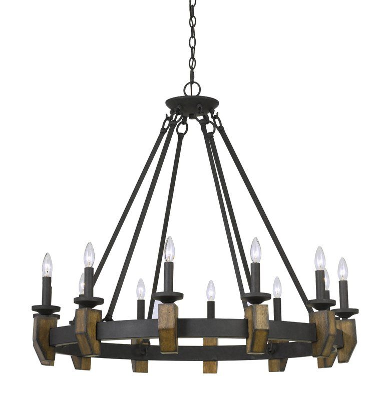 Geraghty 12 Light Candle Style Wagon Wheel Chandelier With Wood Accents Wood Chandelier Cal Lighting Chandelier Ceiling Lights