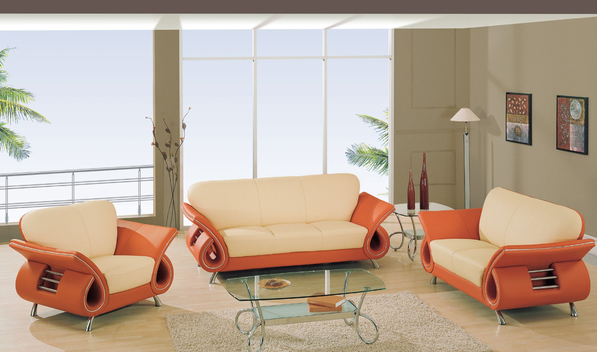 Global Furniture Beige U0026 Orange Leather Match Sofa 559 LV S   Sofas U0026