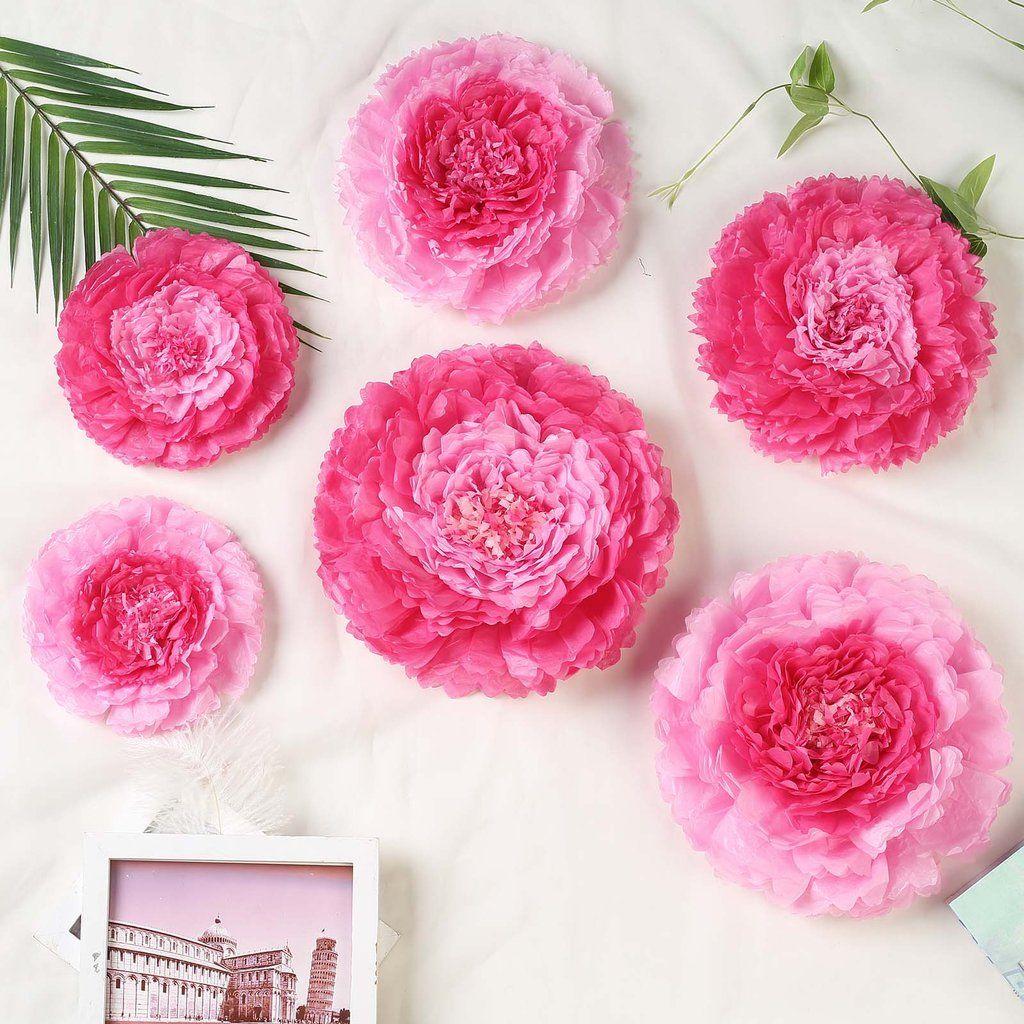 Pack Of 6 Pink Fushia Multi Size Carnation 3d Giant Paper Flowers Paper Flower Backdrops Wedding Wall 7 9 11 Clearance Sale In 2020 Paper Flower Backdrop Wedding Paper Flower Backdrop Paper Flower Decor