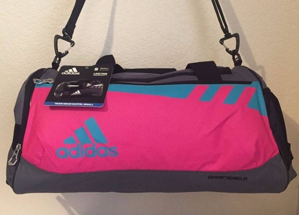 a0ecd769fb ADIDAS Team Issue Duffel Small Women Gym bag luggage Pink Grey Water  Resistant  Adidas
