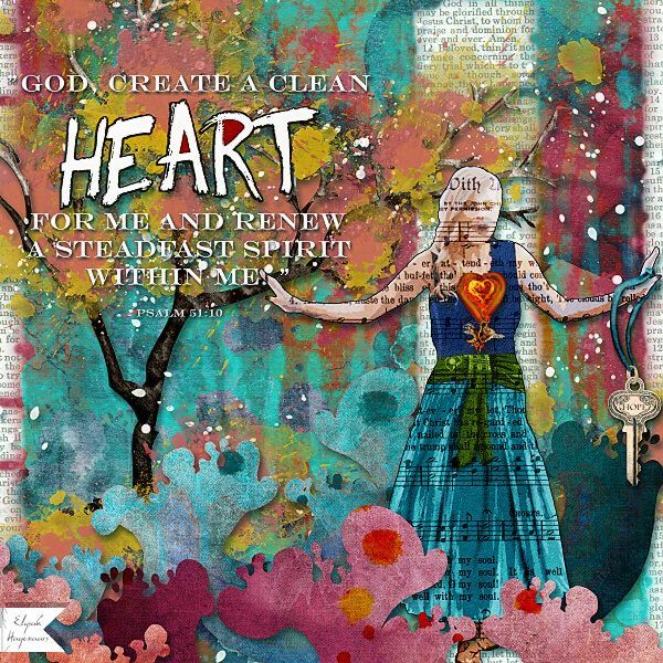 CLEAN HEART: This is my page for the Spiritual Challenge of November 2015 at GDS.  I made this page with It is Well by Altered Amanda's Studio, available here: http://www.godigitalscrapbooking.com/shop/index.php?main_page=index&manufacturers_id=148 Also used: The Book, also by Altered Amanda's Studio at GDS.