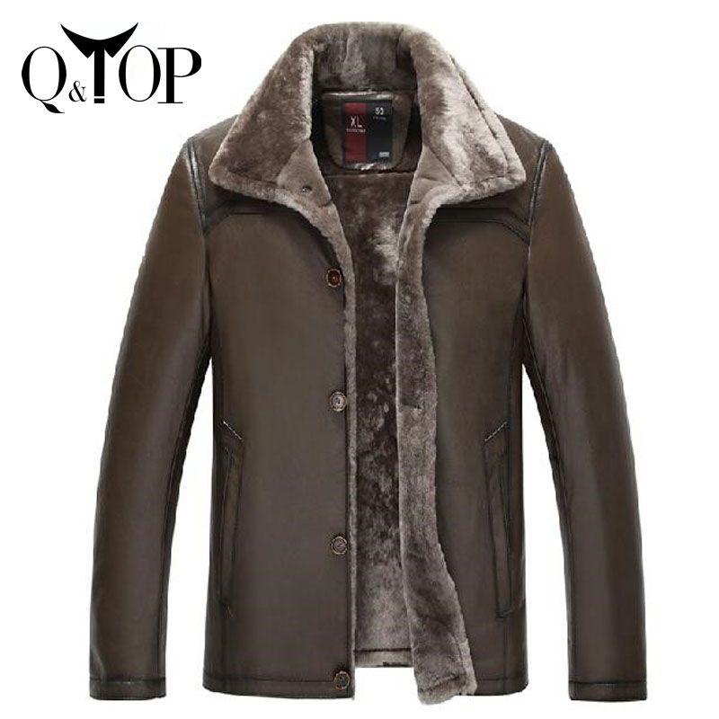 Jaqueta de Couro masculina yüksek kaliteli erkek doğal koyun hakiki deri ceket 2015 yün astar ouitdoors kürk l-4xl(China (Mainland))