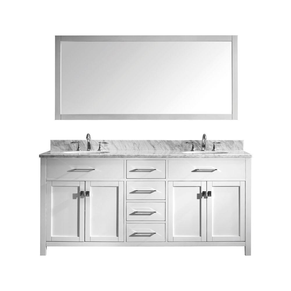 Virtu Usa Caroline 72 In W Bath Vanity In White With Marble