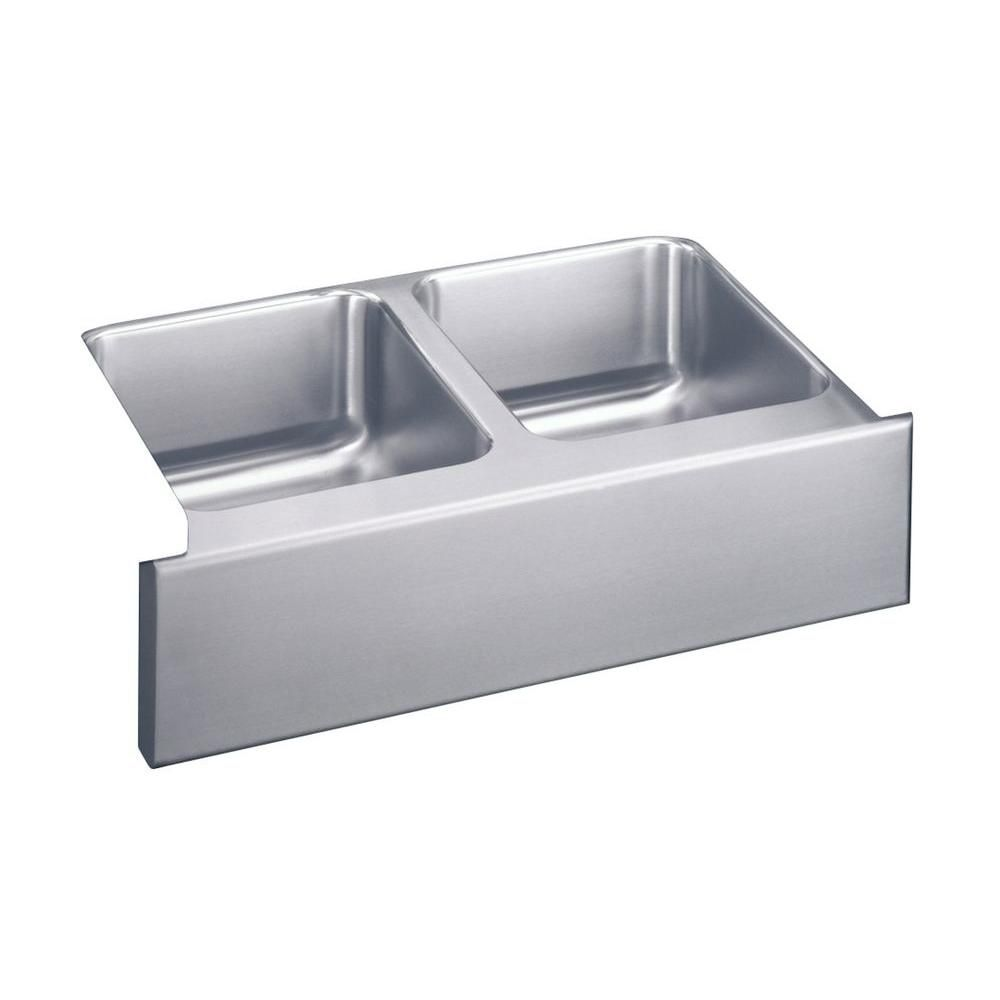 Lustertone Undermount Apron Front Stainless Steel Silver 33 In