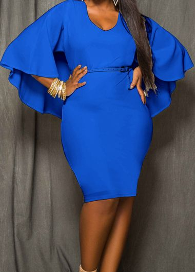 842241e7f 66% Off on Cutout Back Royal Blue Knee Length #Dress #couponscodefinder  #rotita