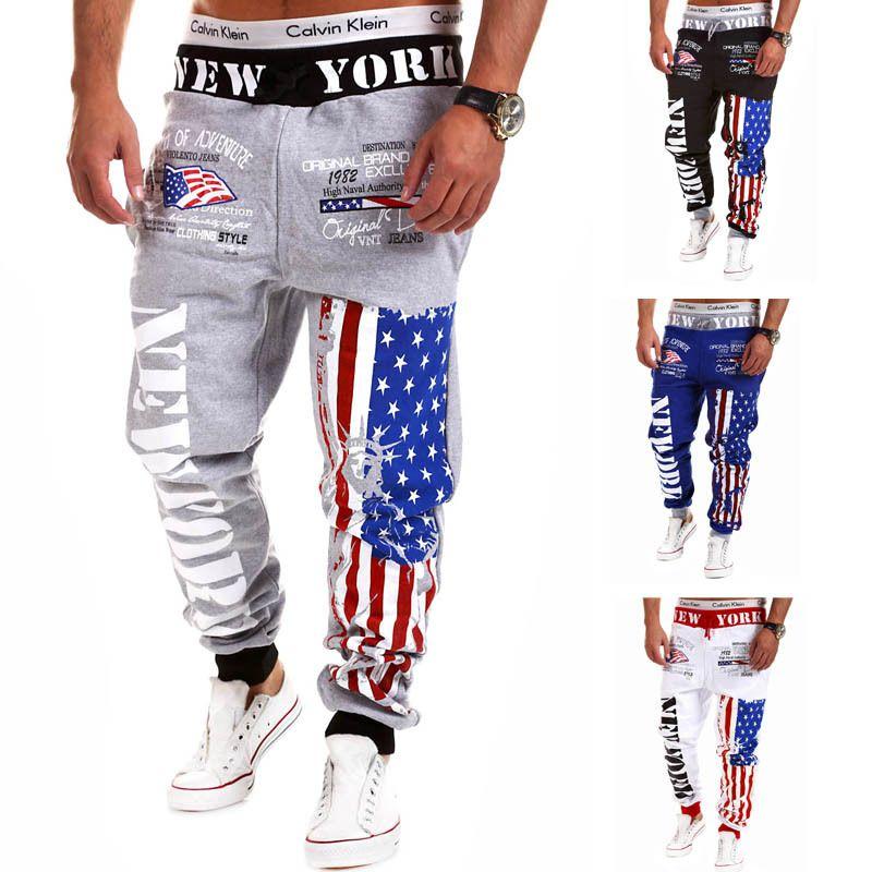 Encontrar Mas Pantalones Flacos Informacion Acerca De Nueva Impresion De La Letra Joggers Ha Pantalones Anchos Hombre Pantalones De Chandal Pantalones Casuales