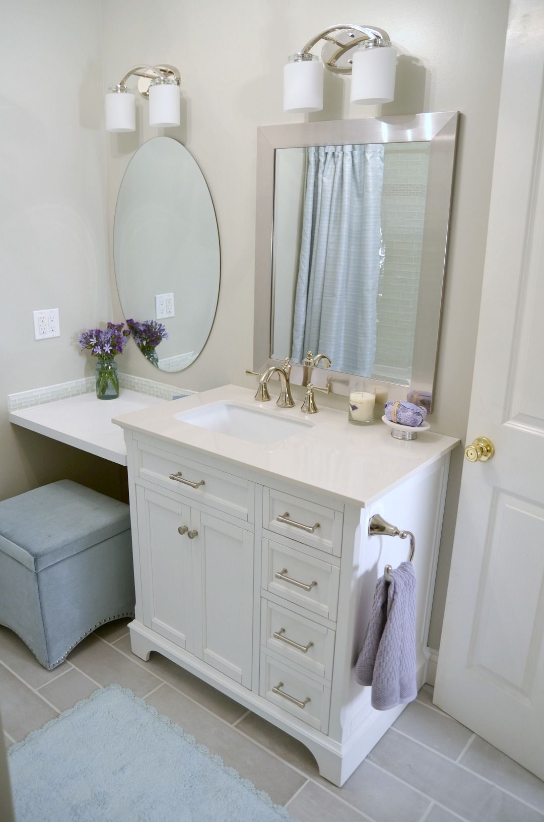 Lowe 39 s bathroom makeover reveal bathroom ideas bathroom rustic bathroom vanities lowes for Rustic bathroom vanities lowes