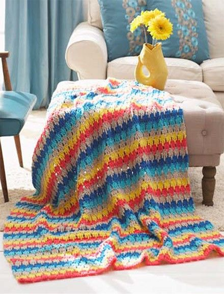 Follow this free crochet pattern to create this afghan using Bernat ...