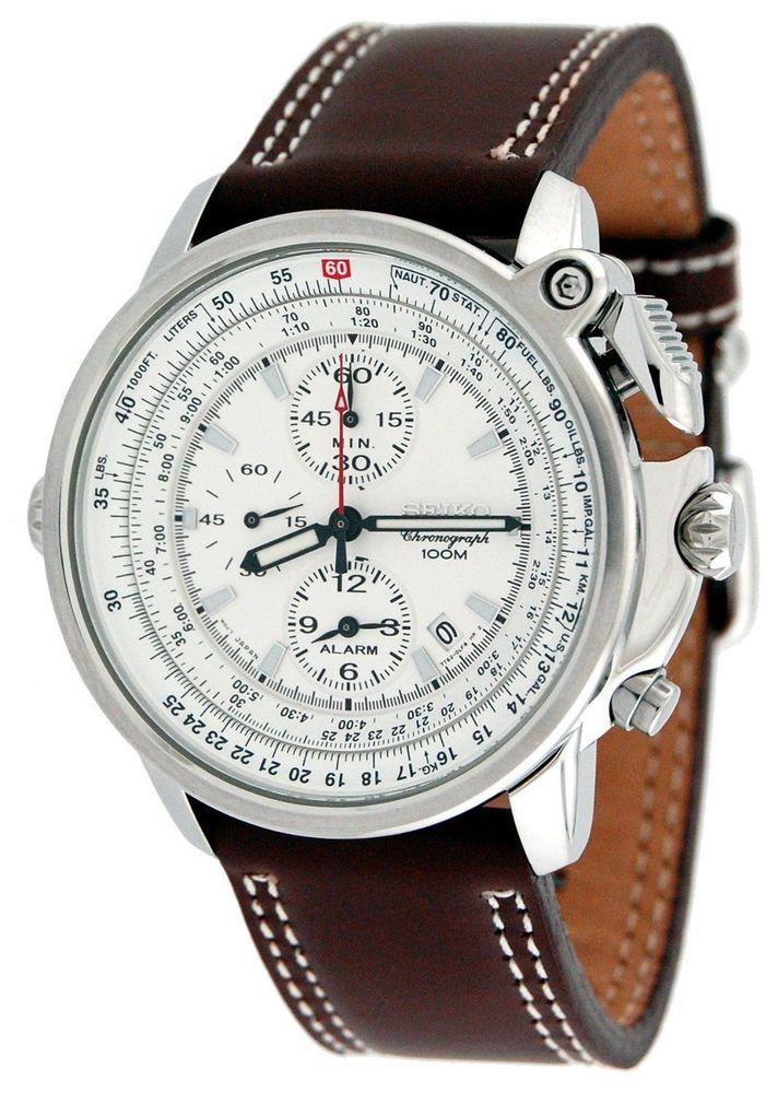 5ffb95a2e1fa95 Seiko Pilot Aviator Flightmaster Watch - 100m Dive Alarm Chronograph SNAB71  NEW…