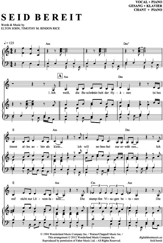Seid Bereit Klavier Gesang Der König Der Löwen Musical Pdf