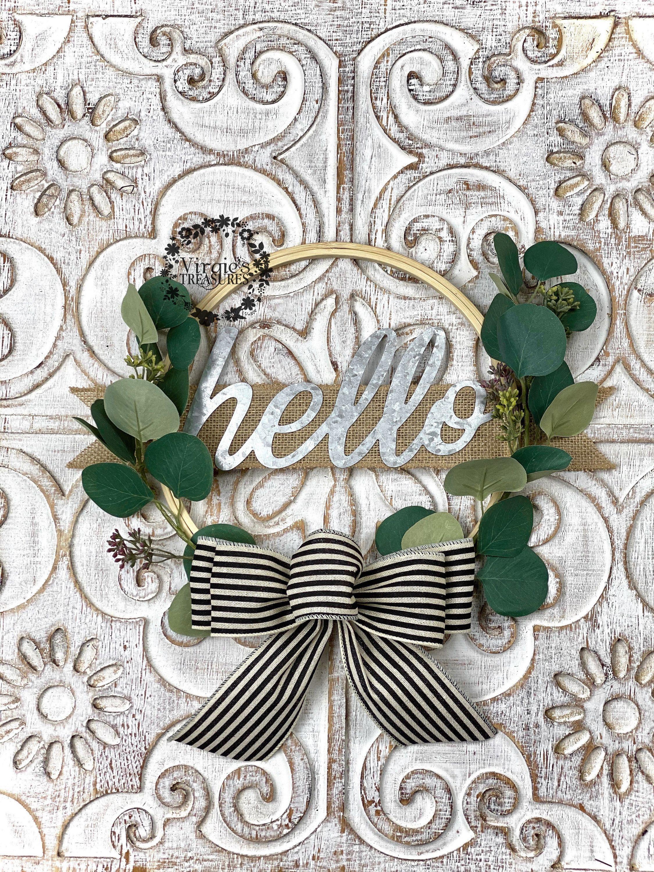 Photo of Hello Hoop Wreath, Hoop Wreath, Embroidery Hoop Wreath, Silver Dollar Eucalyptus Wreath, Farmhouse Wreath, Hello Wreath