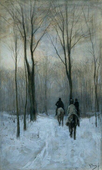 Winter landscape with horses by Anton Mauve